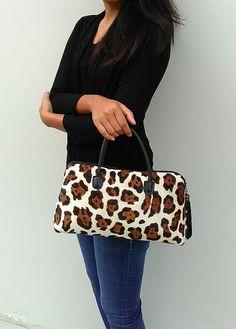Leopard hand bag leopard print leather bag leopard calf hair