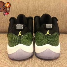 8fc81232125 Air Jordan Slipper Shoes Air Jordan 11 Low Retro Green Snake