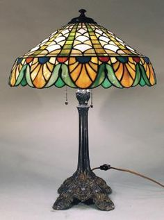 Wilkinson Peacock Feather Leaded Glass Lamp
