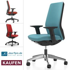 Ergonomischer Bürostuhl Interstuhl AIMis1 1S01 mit Autolift-Mechanik und Komfort-Polsterung. Trotz fester Formensprache sorgt das modulare Designkonzept für Individualität im einzelnen Stuhl.