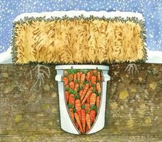 Simple underground root cellar made of a 5 gallon bucket and bale of hay or straw.