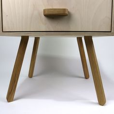 salvage - retro bedside table - detail.  Made from salvaged birch ply and oak.