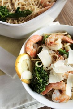 Lemon Baked Shrimp with Pasta is a quick and easy weeknight meal that's ready in 30 minutes or less