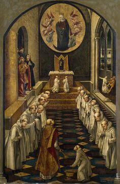Pedro Berruguete - Aparicion de la Virgen a Una Cominidad de Dominicos (Apparition of the Virgin to a Community of Dominicans); Museo del Prado, Madrid, Spain; c.1499