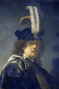 Rembrandt, Self-portrait wearing a white feathered bonnet, 1635