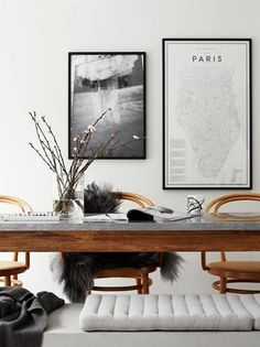 I love the wood in this black and white interior - it instantly warms up the room!