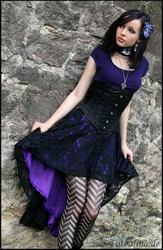 Gothic Girl Long Black Hair Purple Black Dress