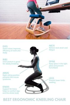IMPROVES POSTURE: It's time to conquer back pain with an ergonomic kneeling chair for your workstation! RELIEVES STRESS: This sturdy chair gives you the posture benefits of standing and the relief of sitting all in one! SOLID WOOD FRAME: Supporting up to 250 lbs in weight, this kneeling stool is constructed of durable beach wood material and mesh fabric for strength and long-lasting support! WE'VE GOT YOU COVERED: This ergonomic kneeling stool is backed with a 1 YEAR MANUFACTURER WARRANTY! Kneeling Stool, Ergonomic Kneeling Chair, Home Office Design, Office Decor, House Design, Beach Wood, Improve Posture, Home And Deco, Back Pain