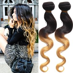 Best Selling Ombre Human Hair Extensions Peruvian Body Wave 3Bundles Hair Wefts #wigiss #HairExtension