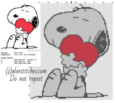 Snoopy with heart free cross stitch pattern small size - free cross stitch patterns by Alex