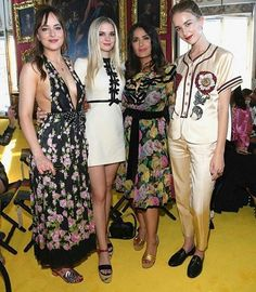 "Dakota with her sisters Grace and Stella in Florence for ""Gucci Cruise"" ❤ Here's a pic with Selma Hayek"