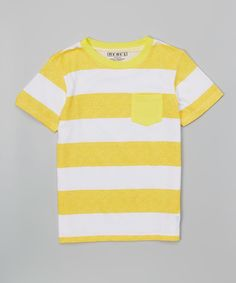 Rebe1 Yellow & White Stripe Tee - Toddler & Boys by Rebe1 #zulily…