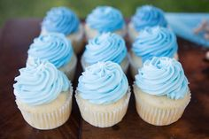 Blue Cupcakes | Blue and Gray Elephant Baby Shower Ideas