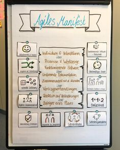 Agiles Manifest The agile manifesto consists of 4 values ​​and 12 principles and serves as the basis Attraction Quotes, Law Of Attraction, Sketch Notes, Brain Waves, Life Words, Business Management, Science Experiments, Self Development