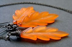 Items similar to Fall leaves necklace and earrings set - Neon orange acrylic leaves with black oxidized sterilng silver - Halloween Jewelry on Etsy Halloween Jewelry, Halloween Diy, Autumn Ideas, Leaf Necklace, Fall Leaves, Earring Set, Jewlery, Projects To Try, Neon