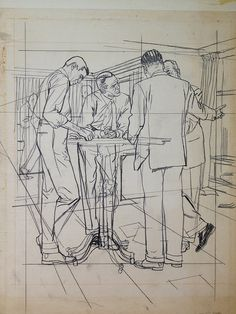 Austin Briggs - Prelim MEN STANDING AROUND TABLE (w/ Perspective Lines).