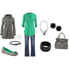 Grey and Green. The shoes definitely make this outfit pop New Outfits, Cute Outfits, Summer Outfits, Zebra Shoes, Work Fashion, Fashion Ideas, Style Inspiration, Style Ideas, Jeans Style