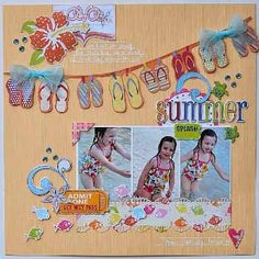 Adorable layout....love that banner of flip flops!