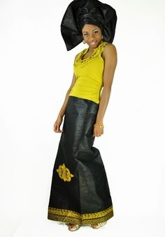 Black African Brocade Skirt Embroidered with Hye Won Hye symbol