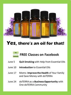 Have you been hearing a lot about essential oils lately and want to learn more?  Join us to learn how you can use essential oils to address your family's health concerns naturally, reduce toxins, manage mood, and more. These are interactive sessions-- discussion and questions encouraged.    All classes are at 8pm Central time (9PM Eastern and 6PM Pacific)  Click here to register for any or all of these FREE classes.    https://www.facebook.com/OneDoterraCommunity/events
