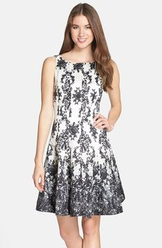 Taylor Dresses Print Shantung Fit & Flare Dress (Regular & Petite) available at #Nordstrom