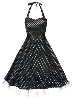 Amazon.com: Lindy Bop 'Bonnie' Black Polka Dot Vintage 1950'S Rockabilly Pinup Halter Party Swing Dress: Clothing