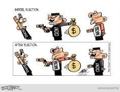 Before & After Election #kartunzunar #election #najib #malaysia #corruption