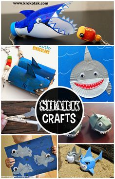 Non-Scary Shark Crafts for Kids to Create. Fun for shark week and ocean themed art projects. Craft Activities For Kids, Preschool Crafts, Projects For Kids, Crafts For Kids, Art Projects, Spanish Activities, Craft Ideas, Indoor Activities, Summer Activities