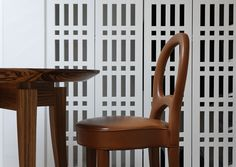 Vintage chair and zebrano-wood table