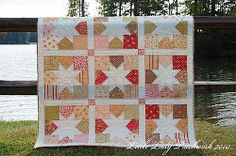 Starry Fig Tree Quilt - uses 2 charm packs plus sashing material. Blocks finish at 13.5 inches. Add another row to  make COR donation size?