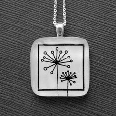 Black & white dandilions glass pendant by Ksickles on Etsy. $12