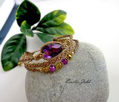Bracelet micromacrame.Boho bracelet style.Macrame work bracelet. Beads macrame bracelet. Macrame weaving jewelry.Amethyst cabochon bracelet.
