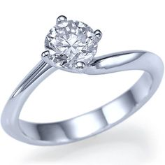 Twisted Round Cut Diamond Engagement Ring 14k White by ldiamonds