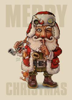Cool Hippy Santa Claus Happy Hippie, Christmas Time, Horror, Merry, Santa, Dolls, Cool Stuff, Hippy, Painting