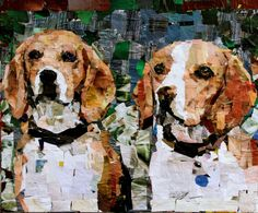 Beagles. Collage on Canvas. 20 x 24' 2012. Artist: Samuel Price www.mydogcollage.com