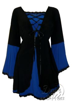 Dare to Wear Gothic and Victorian inspired plus size Princess corset top in royal blue with black lace