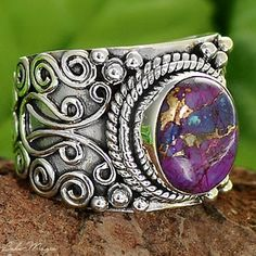 COPPER PURPLE TURQUOISE 925 STERLING SILVER RING
