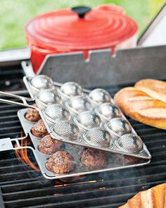 The Meatball Grill Basket helps you grill up 12 tasty, perfectly cooked meatballs. The perforated stainless-steel basket drains excess fat to make you feel a little better about eating all 12 meatballs. Cooking Gadgets, Cooking Tools, Kitchen Gadgets, Kitchen Tools, Cooking Hacks, Grilling Recipes, Cooking Recipes, Kitchen Recipes, Grill Basket