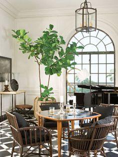 Vintage Danish game table is striking against the geometric floor | Greystone Estate, Waldo Fernandez | Veranda...