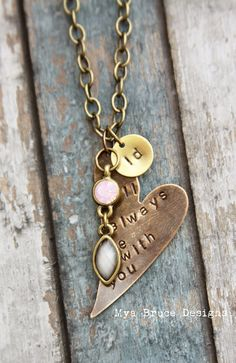 I will always be with you - mixed metal, long, antiqued necklace from MyaBruceDesigns on Etsy