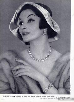 Jean Parmentier 1957 Necklace, Bracelet, Earrings, Photo Philippe Pottier, Hat Claude Saint-Cyr