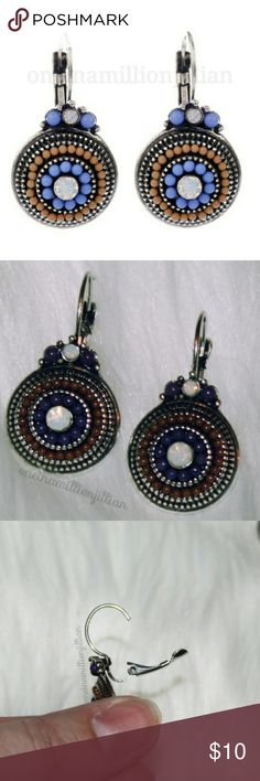 ON TREND - Ethnic Bohemian Style Drop Earrings New/Carded - Never Worn  ◇ Style: Pierced / Dop ◇ Color: Antiqued silver with iridescent gemstones + taupe & purple accenting.  These earrings will literally go with many different wardrobe combinations. Great to give as a gift for the earring lover .. or why not treat yourself!   Check my page for more items to bundle with! #oneinamillionjillian Jewelry Earrings