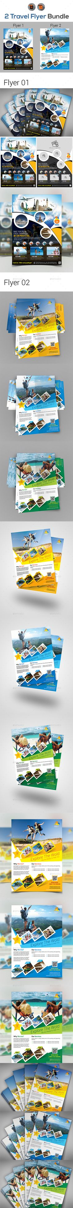 Travel Flyer Template Bundle - Vector EPS, AI Illustrator