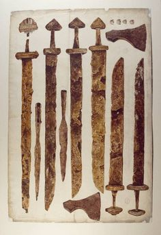 Weapons found in Viking graves at Kilmainham and Islandbridge, Dublin. © The…