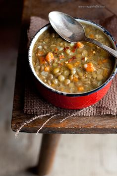 "Pinner said}}}Lentil soup - I've been brushing up on my ""low cost, high value"" recipes.  Low cost as in $ and calories, and high value as in I feel full and satisfied and don't feel like I compromised on flavor.  This soup will now be a go-to for our family.  My husband and I really liked it and it took 30 minutes to make."