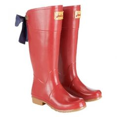 Joules Welly with Bow (Evedon) - Red with Navy Bow @ www.let-it-rain.com