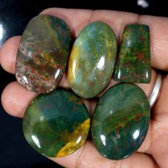 168.35Cts FABULOUS 100% NATURAL BLOOD STONE MIX CABOCHON ~TOP QUALITY~ GEMSTONES #Handmade