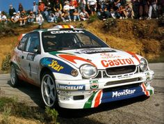 Toyota Corolla WRC, double WRC champion driver Carlos Sainz with co-driver Lois Moyà gained its first victory with the Monte Carlo Rally in 1998 Toyota 2000gt, Toyota Corolla, Corolla E11, Corolla 1999, Classic Sports Cars, Classic Cars, Sport Cars, Race Cars, Rallye Wrc