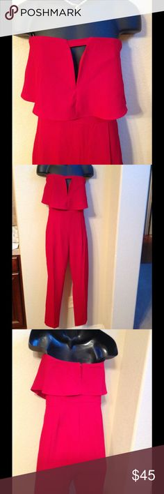 """NORDSTROM """"SOIEBLU"""" RED SEXY JUMPSUIT NWT! Sexy Chic strapless jumpsuit from Nordstrom Rack. Size medium But fits like a Small at the bottom (size 2-4). The upper Part has inside adhesive to stay in place and It fits Up To a 34D bust. Front side pockets and zipper on the back. Soieblu Pants Jumpsuits & Rompers"""