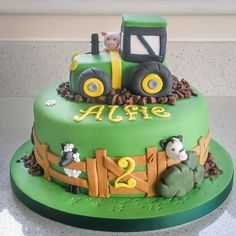 cakes / Farm tractor and animals Farmyard cakes / Farm tractor and animals. Farmyard cakes / Farm tractor and animals. Tractor Birthday Cakes, 2 Birthday Cake, Tractor Cakes, 20th Birthday, 2nd Birthday Cakes For Boys, Birthday Ideas, Red Tractor, Farm Animal Cakes, Animal Cakes For Kids